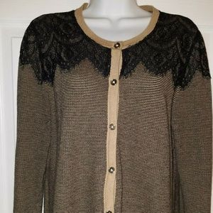 ANN TAYLOR LOFT Womens Large Tan/Black Cardigan